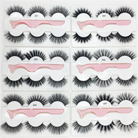 3 pairs faux mink eyelashes with tweezers New 3 Pairs  set w...