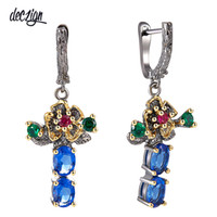 Deczign New Arrived Flower Style Drop Earrings for Women Blu...