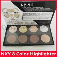 2019 Hot NYX Destaque Contour Creme Pro paleta 8 cores Beleza pigmentado Sombra Highlighter Face Maquiagem Corretivo Paletas