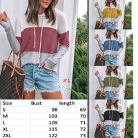 New style stripe patchwork Women Knitted sweater waffle hood...