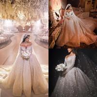 2020 Árabe ASO EBI Luchación de lujo en lentejuelas Vestidos de novia Off Hombro Mangas largas Vestidos de novia Sexy Vestidos de novia con Encanto