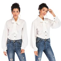 white shirts Women office ladies Bow tie Long Sleeve button ...