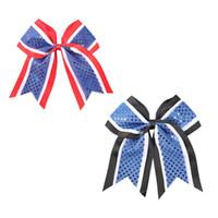 8pcs / lot 7 '' Camada Handmade Três fita Sequins elogio Arcos com elástico Meninas Cheerleading Boutique Acessórios de cabelo