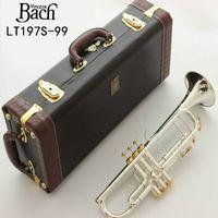 Americana Bach LT197S-99 trompeta gota de plata chapado B trompeta profesional clave trompete instrumento de metal de oro con el envío libre de caso