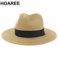 HOAREE Khaki Homens Panamá chapéu de palha Fedora masculino Sunhat Mulheres Summer Beach Sun Visor Cap Chapeau Jazz Vintage Trilby Cap Sombrero