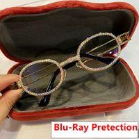 Pretexção retrô rodada óculos de sol mulheres vintage steampunk sol óculos homens claros lente strass sunglasses oculos