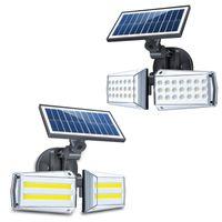 الطاقة الشمسية أضواء بقعة في الهواء الطلق مشرق ضوء المناظر الطبيعية 42 مصابيح LED جدار مقاوم للماء مع استشعار الحركة 3 طرق الشمسية ميكروويف التعريفي الضوء