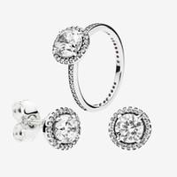 Bague de diamant Big CZ Ensembles de boucles d'oreilles 925 Sterling Silver Bijoux pour Pandora Elegant Femmes Boucles d'oreilles Goujons Ensemble avec boîte originale