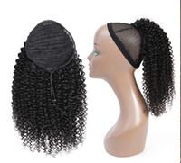 Afro Kinky Curly PoneyTail Hair Cheveux humains Remy Brésilien Cordon de cordon Brésilienne 1 Pièce Clip dans les extensions de cheveux 1b Queue de poney