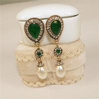 Mode dames vergulde zwarte diamant drop-vormige hars oorbellen tassel parel oorbellen hypoallergeen sieraden