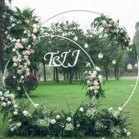 5 tamaños fiesta de accesorios de boda decoración anillo de hierro forjado arco de fondo arco redondo césped de seda artificial de flores fila soporte estante de pared