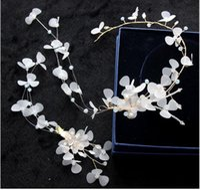 Koreli gelin el yapımı headdress stüdyo takı beyaz kristal Juan iplik kafa çiçek saç bandı saç tokası seti