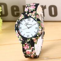 Kobiety Sukienka Zegarki Luksusowe Kwiaty Drukowane Genewa Watch Kobiety Casual Kwarcowy Zegarek Eleganckie Popularne Damska Sukienka Wristwatch