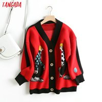 Tangada women cute cartoon cardigan sweater long sleeve butt...