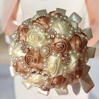 Sıcak Satış Ipek Saten Gül düğün buketleri çok mor kraliyet mavi gelin düğün çiçekleri nedime için elmas inciler kristal dekorasyo ...