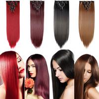 clip 26inch de haute qualité dans les extensions de cheveux Pincer synthétique droite postiche cheveux naturels dans l'extension de cheveux pour les femmes