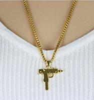 Hip Hop colares gravado Gun Forma Uzi Ouro Pingente de alta qualidade Colar de Ouro Cadeia Popular Moda Pendant Jewelry