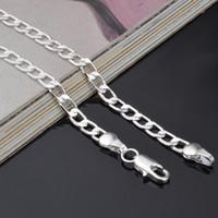 6-8 MM 925 ayar gümüş Küba zincirleri Yüksek kalite 16 18 20 22 24 inç Gümüş Kaplama kolye kadınlar Bayanlar Için Moda Takı