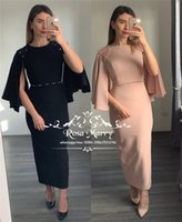 Caped Tea Length Cheap Mother of the Bride Dresses 2019 Shea...
