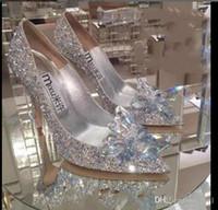 2020 Frauen High Heels Hochzeit Silber Cinderella Schuhe Sexy Dame Kristall Plattformen Silber Glitter Diamanten Brautschuhe Ferse Party Pumpe