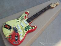 Guitarra eléctrica al por mayor de fábrica con patrón especial, 3 pickups, diapasón de palisandro, oferta personalizada