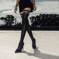 Moda Pist Kristal Stretch Kumaş Çorap Çizme Sivri Burun Aşırı-Diz Topuk Uyluk Yüksek Sivri Burun Kadın Boot