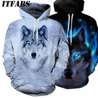 겨울 따뜻한 여성 남성 동물 그래픽 3D 늑대는 후드 후드 긴 소매 운동복 풀오버는 의상 의류 탑 인쇄