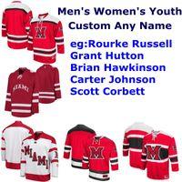 Universidad de Miami RedHawks Colegio jerseys del hockey de los hombres de Scott Corbett Jersey Rourke Russell Grant Brian Hutton Hawkinson personalizada cosido