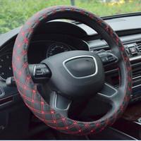 Auto-Leder-Stickerei-elastische skidproof Lenkradabdeckung mit Nadel HoleDrop Freies Verschiffen