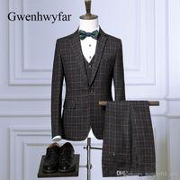 Gwenhwyfar 2018 de haute qualité Plaid hommes costume bleu Hommes Blazer Ensembles pour le mariage Groom Best Men Smokings Prom (veste + pantalon + Gilet)