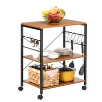 Waco Kitchen Baker Racks Serviço de armazenamento em casa, suporte de forno de microondas, 3 níveis com ganchos de forma s rolando