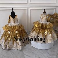 Vestido de fiesta con lentejuelas doradas Vestidos para niñas Vestidos de encaje vintage Arco Tallas tallas pequeñas Vestidos para niños Vestidos de niña de flores para adolescentes