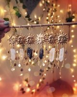 Sun Goddess Quartz Charm Brass Earrings Stars Moon Boho Hippie Bohemian Celestial Witchy Metaphysical Jewelry