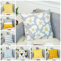 Fundas de cojines geométrica Impreso funda de almohada sofá de terciopelo fundas de cojines decorativos cojines del sofá Decoración Amarillo Gris 16 DSL-YW1503