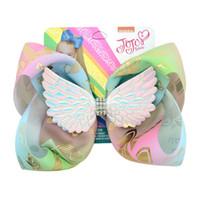 8 pulgadas Jojo Swia Wings Bowknot Horquilla Diamante Bebé Niñas Arcos del pelo Barrette Niños Gran Unicornio Hairclip Boutique Accesorio de pelo A52105