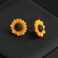 여성 신선한 매력적인 사랑스러운 귀여운 단순 스타일 데이지 꽃 유행 귀 스터드를위한 새로운 1 쌍의 황금 해바라기 귀걸이