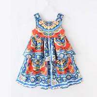 2021 Детские Летние Девушки Дворец Печать Подвески Платье Европы и Американская Детская Детская Одежда Оптом