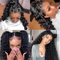 Качество Virgin Cyrly Follow Wave 13 * 4 Кружева Frontal Wig 180 Плотность Красоты красоты с Детские Волосы