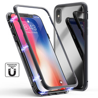 Luxury Metal Magnetic Adsorption Aluminum Alloy Frame With Tempered Glass Back Cover Case For iPhone 11 Pro X XS Max XR 8 7 6 6S Plus