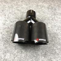 1 pcs Fibra de carbono completo + lustroso preto silenciador de escape de escape de aço inoxidável auto Universal Akrapovic Dicas duplas