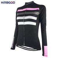 HIRBGOD женщин Розовая полоса Велоспорт рубашка с длинным рукавом Леди Легкий Спорт езда велосипед Велоспорт Джерси Одежда, HK038