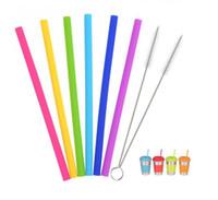 Riutilizzabile in silicone Cannucce silicone del commestibile Straw Bar partito Bent Cannucce Tumbler Accessori con pennello 6 colori LXL96-1 all'ingrosso