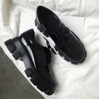 2019 Hot Vente-épais talon en cuir verni surélévation Chaussures Bas Haute cheville antidérapante lacées à bout rond Sneaker Chaussures à 6cm Taille 35-39