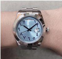 Hochwertige u1 Luxus Automatik Uhrwerk Day Date Herrenuhr Jubiläum Edelstahlband Ice Blue Dial männliche Armbanduhr