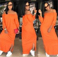 Kadın Saf Renk Moda Elbise Yaz Tasarımcı Slash Boyun Kadınlar Elbiseler Casual Bayan Kasetli Gevşek Giyim