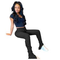 Sweatpants Kadınlar Pileli Flare Pantolon Yüksek Bel Biker Pantolon Sportwear Yığılmış Joggers Çan Alt Pantolon Bayan Kalem Tayt