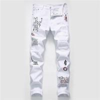 Fori Mens Jeans Fashion Strappato Graffiti Lavato Stampa Mens Biker Jeans Casual Zipper Fly Maschi Abbigliamento