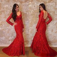 2020 Mermid красный с длинным рукавом вечерние платья кружева выпускные платья русалка формальные платья вечерняя одежда V шеи вечеринка платье
