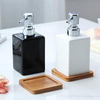 320ml Keramik-Seifenspender Weiß Schwarz Flasche Hotels Duschgel Hand Sanitizer Flasche mit Bambus Tray für Küche Badezimmer-Zubehör