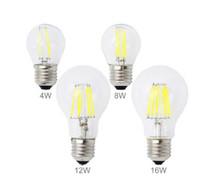 E27 LED 전구 2W 4W 8W 12W 16W Edison 필라멘트 COB 램프 360도 220V 230V 레트로 글로브 조명 실내 거실